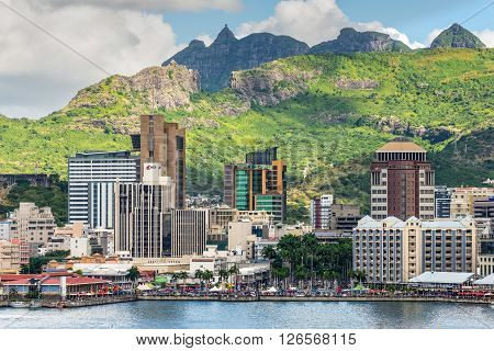 Port Louis Mauritius - December 12 2015: Port Louis cityscape Mauritius. The city is the country's economic cultural political centre and most populous city.