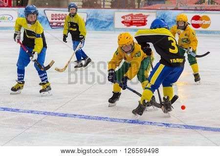 MOSCOW, RUSSIA - FEBRUARY 26, 2016: the final bandy tournament on Red Square