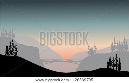 Silhouette of bridge at the morning with gray backgrounds