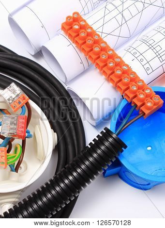 Components for use in electrical installations and rolls of electrical diagrams copper wire connections in electrical box energy concept poster