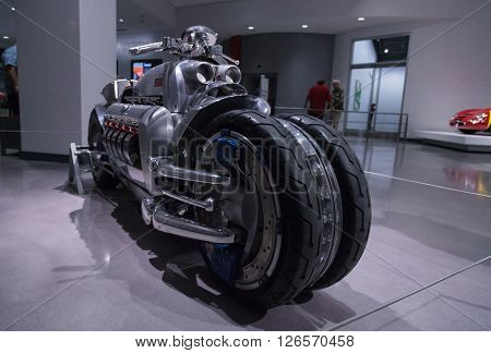 Los Angeles, CA, USA -- April 16, 2016: This 2003 Dodge Tomahawk motorcycle was one of only 9 built and is named after the military cruise missile. It is part of the collection of FCA at the Petersen Automotive Museum in Los Angeles, California, United St