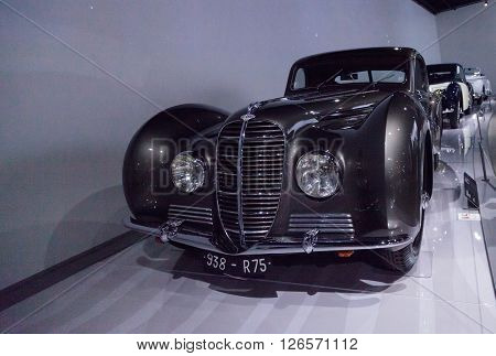 Los Angeles, CA, USA -- April 16, 2016: This 1937 Delahaye Type 145 by Chapron is part of the collection of the Mullin Automotive Museum on display at the Petersen Automotive Museum in Los Angeles, California, United States.