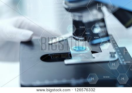 science, chemistry, biology, medicine and people concept - close up of scientist hand with test sample making research in clinical laboratory over hydrogen chemical formula