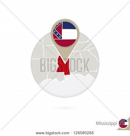 Mississippi Us State Map And Flag In Circle. Map Of Mississippi, Mississippi Flag Pin. Map Of Missis