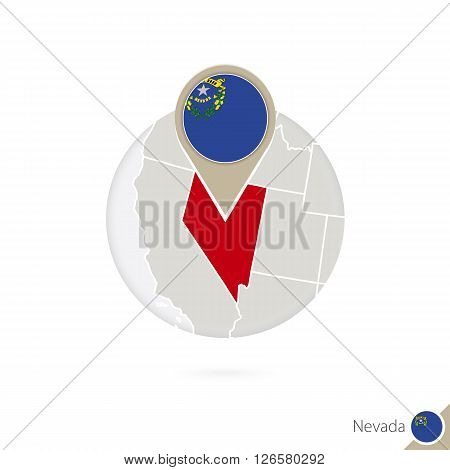 Nevada Us State Map And Flag In Circle. Map Of Nevada, Nevada Flag Pin. Map Of Nevada In The Style O