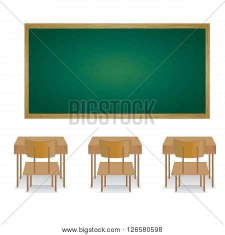 Welcome back to school and classroom. Illustration of an empty classroom.