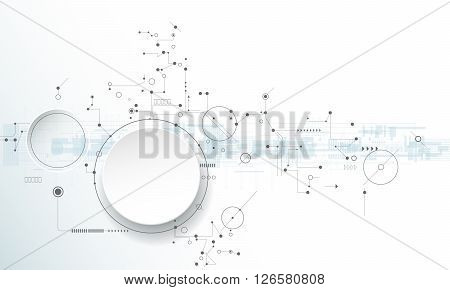 Vector illustration circuit board with 3D paper label, Hi-tech digital technology and engineering, digital telecoms technology concept. Abstract futuristic on light blue color background