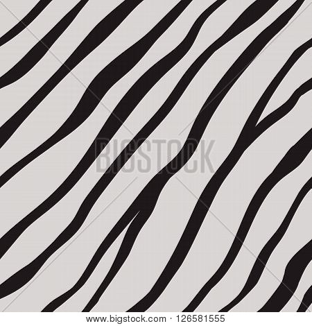 Vector fur background. Flat seamless animal striped pattern. Tiger skin for fashion design.