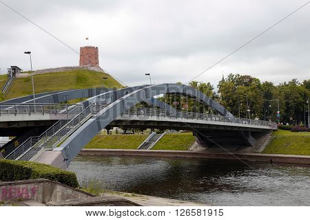 VILNIUS, LITHUANIA - JULY 20, 2015 : Vilnius cityview with Neris river bridge and Gediminas castle, Vilnius, Lithuania.