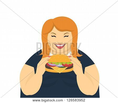 Happy fat woman eating a big tasty hamburger. Flat concept illustration of bad habits and people eating burgers and junk food isolated on white background