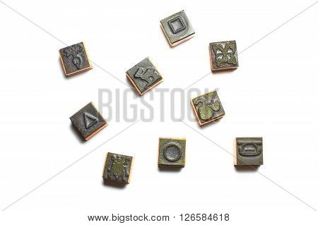 Old children rubber stamps with different shapes