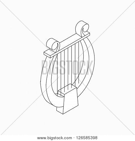 Lyre icon in isometric 3d style isolated on white background