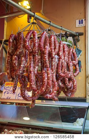 View of sausages exposed in the open air market