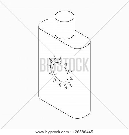 Sunblock lotion icon in isometric 3d style isolated on white background