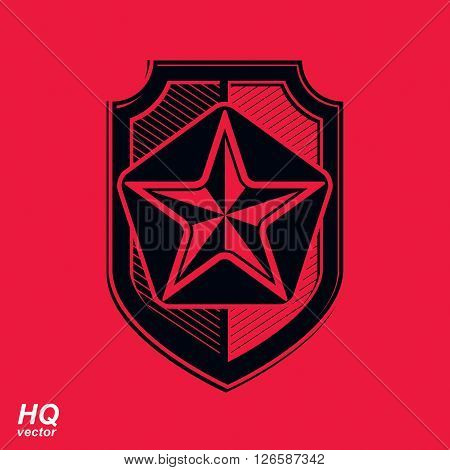 Vector shield with a red pentagonal Soviet star protection heraldic blazon.