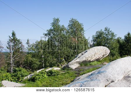 monument of nature white stones summer day, Russia
