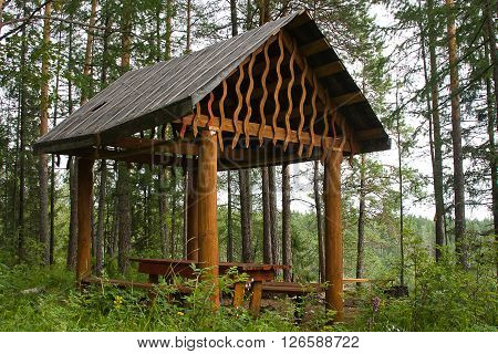 Wooden Arbour For Rest In Field