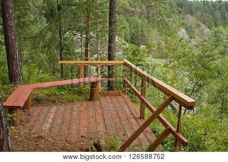 terrace on nature at the river summer day
