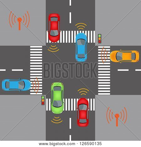 Communication that connects cars to devices on the road such as traffic lights sensors or Internet gateways. Wireless network of vehicle