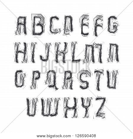 Vector alphabet letters set hand-drawn colorful script bright brushed capital letters.