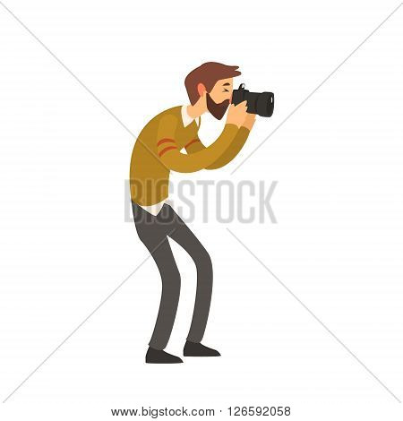 Beardy Man Taking Photo Childish Style Flat Vector Drawing On White Background