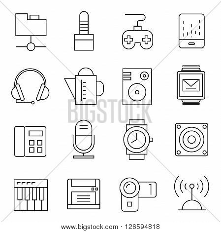 collection of 16 gadget and electronic device icons outline theme