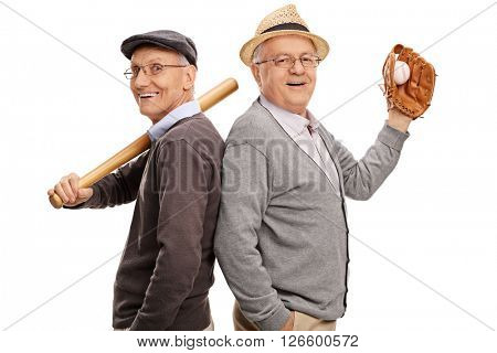 Studio shot of two old friends and baseball teammates posing together isolated on white background