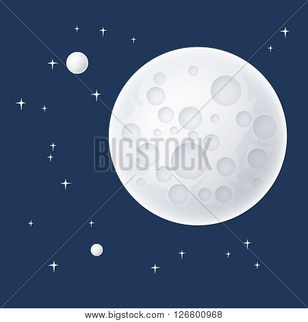 Planet in Space, the Moon with Stars, Space Planet with Craters in the Universe, Vector Illustration