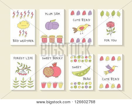 Cute hand drawn doodle baby shower cards brochures invitations with cloud plum bird rose granade bean jam, lightening pomegranate viburnum hummingbird . Cartoon objects animals background