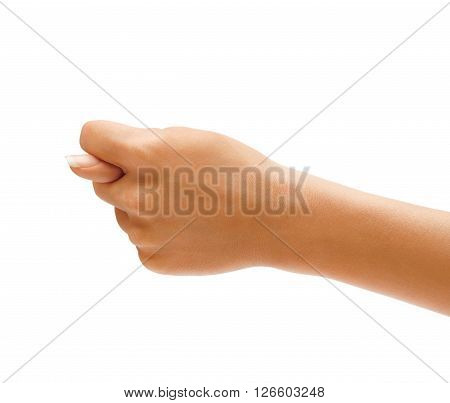 Women's hand shows the fig isolated on white background negative concept. High resolution product. Close up