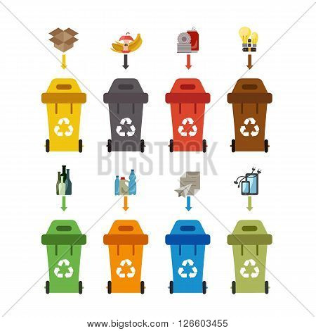Waste recycling bin set. Vector illustration of waste recycling management. Waste recycling bin flat waste sorting concept. Colored waste recycling bin set with waste sorting categories.