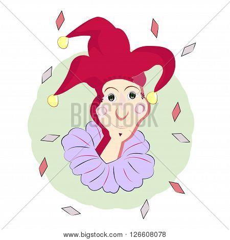 Happy joker. Lucky gambling. The vector image.