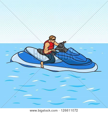 Jetski on water pop art style vector illustration. Human illustration. Comic book style imitation. Vintage retro style. Conceptual illustration