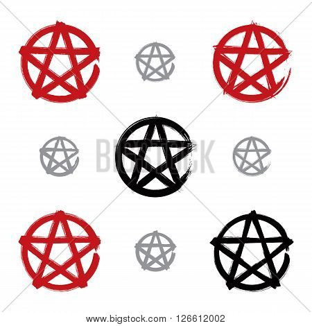 Set of hand-drawn pentagram icons scanned and vectorized collection of brush drawing red magic polygonal stars hand-painted sheriff symbols isolated on white background.