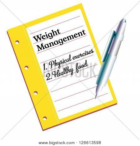Isolated notebook with the text weight management written on its first page