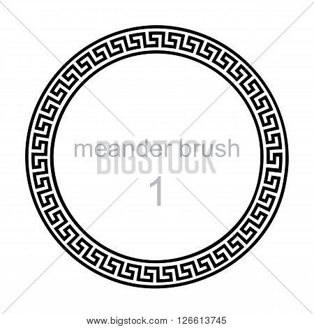 ancient greek ornament meander vector illustration round frame