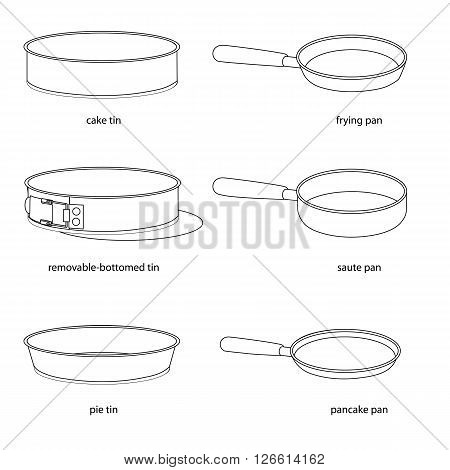 Kitchenware. Set of tins and pans, names cake tin, removable-bottomed tin, pie tin, frying, saute pan, pancake pan. Different kinds of tins and pans, names. Realistic outlined tins and pans, names