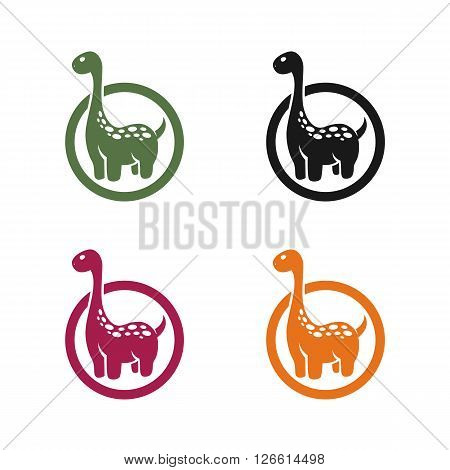 dinosaur emblem on a white background - stock vector