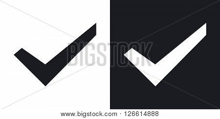 Check mark icon stock vector. Two-tone version on black and white background