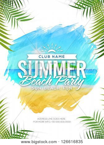 Summer Beach Party Template, Summer Vacation Flyer, Musical Party Banner. Creative vector illustration with beautiful nature view.