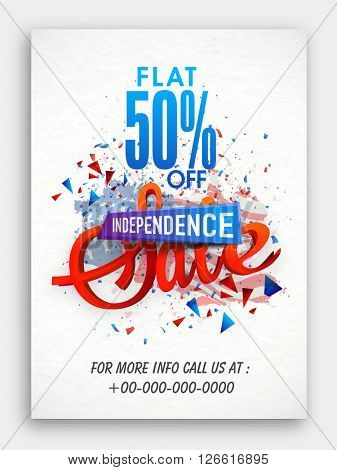 Sale with Flat 50% Discount Offer, Creative Pamphlet, Banner or Flyer design for American Independence Day celebration.