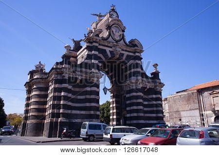 View of the Giuseppe Garibaldi triumphal arch