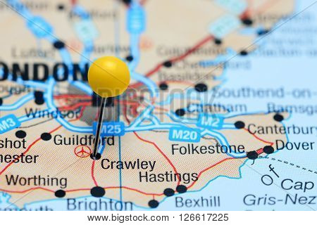 Crawley pinned on a map of UK