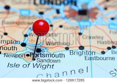 Sandown pinned on a map of UK