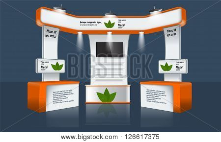 Illustrated unique creative exhibition stand display design with table, tv beam light and logo. Booth template. Corporate identity. Vector Trade booth Display Mock-up. Ready design elements.