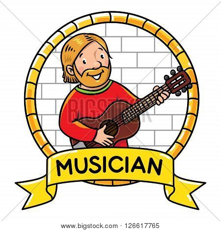 Children vector illustration or emblem of funny musician or guitarist or artist with guitar on the wall background in round frame with cartouche. Profession ABC series. poster