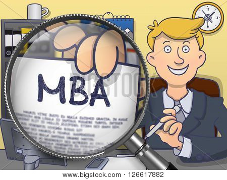 MBA - Master Administration Education. Business Man Welcomes in Office and Holds Out MBA Education Offer through Lens. Colored Modern Line Illustration in Doodle Style.