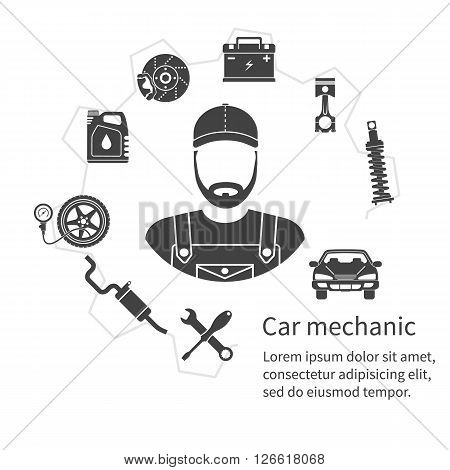Car Mechanic, Icons Tools And Spare Parts, Concept. Repair Machines, Equipment.