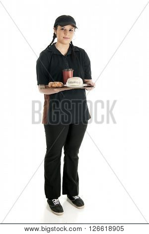 A pretty young waitress standing with full tray -- a wrapped breakfast sandwich, a twisty donut and a cup of coffee.  On a white background
