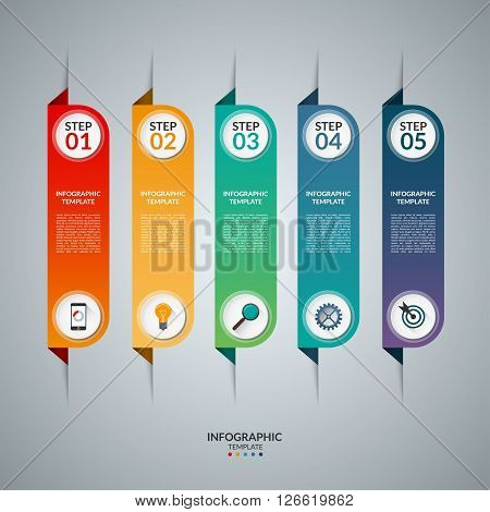 Infographic concept with 5 vertical tabs. Vector template with the set of business icons and design elements. Origami style.